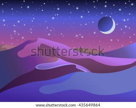 desert night vector starry