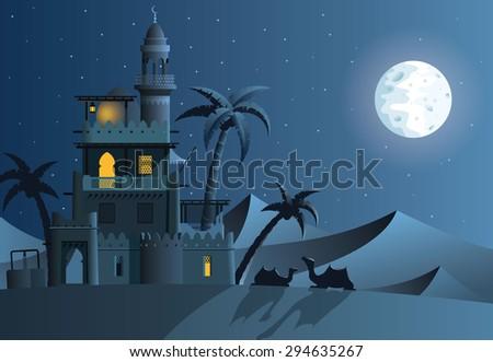 desert oasis in the night
