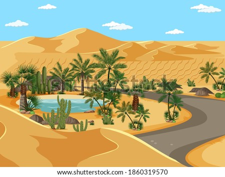 Desert oasis with palms and road nature landscape scene illustration Stockfoto ©