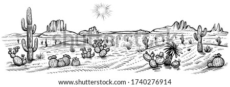 Desert panorama landscape, vector illustration. Hand drawn black and white desert with cactuses and rocks. Arizona line sketch.