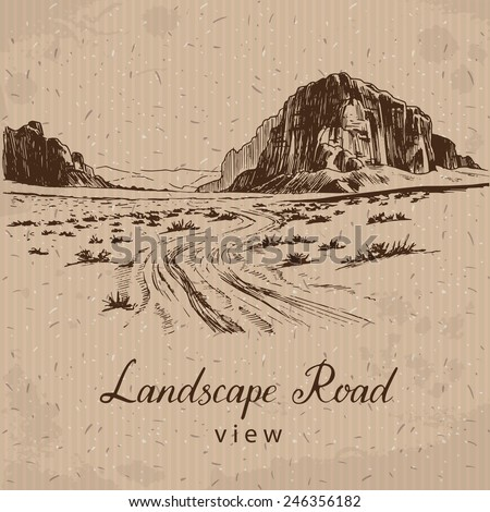 desert road hand drawn vector