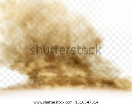 Desert sandstorm, brown dusty cloud or dry sand flying with gust of wind, big explosion realistic texture with small particles or grains vector illustration isolated on transparent background