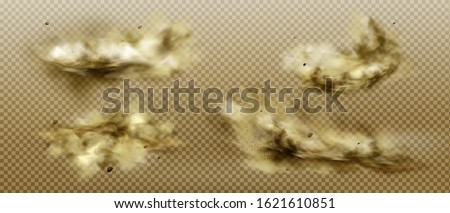 Desert sandstorm, brown dusty cloud or dry sand flying with gust of wind, big explosion realistic texture with small particles or grains vector illustration set isolated on transparent background