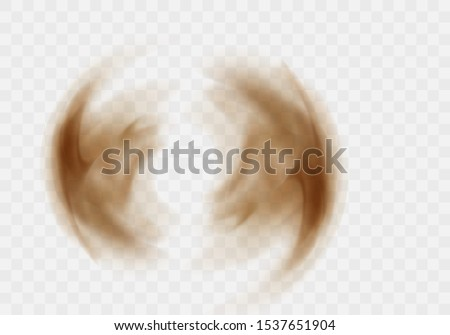Desert sandstorm, brown dusty twisted or swirling cloud banner or dry sand flying with gust of wind, brown smoke realistic texture vector illustration isolated on transparent background
