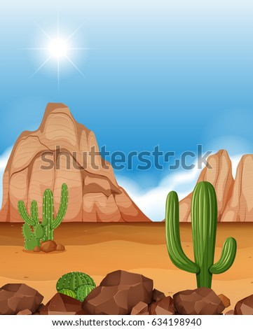 desert scene with mountains and