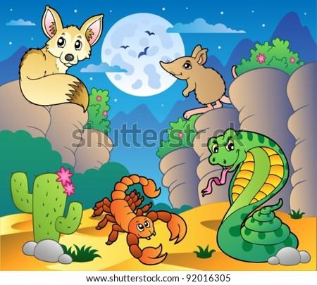 desert scene with various