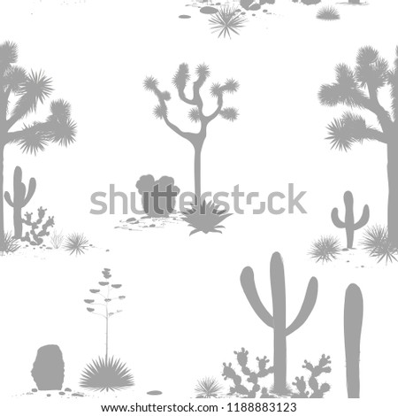 Desert seamless pattern with silhouettes of joshua trees, opuntia, and saguaro cacti. Cactus background.