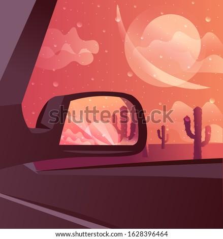 desert sunset landscape with