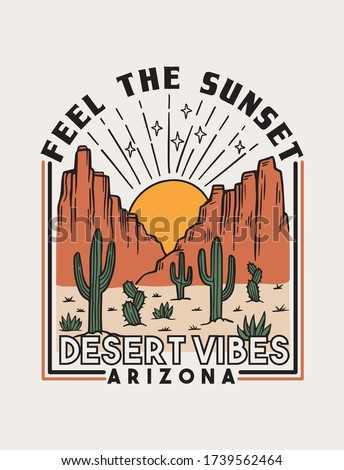 Desert theme vector artwork for t-shirts prints, posters and other uses.