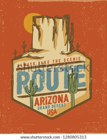 Desert vibes and cactus with slogan western road tripper style t-shirt design, print, typography, label with styled saguaro cactus and rocks. Vector illustration. - Vektör
