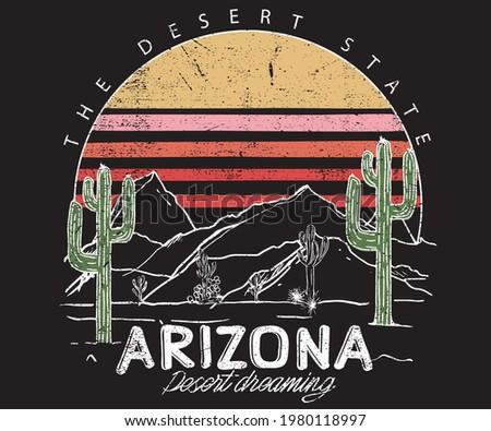Desert Vibes Cactus Western Stock Vector design. Desert vibes print design for apparel.