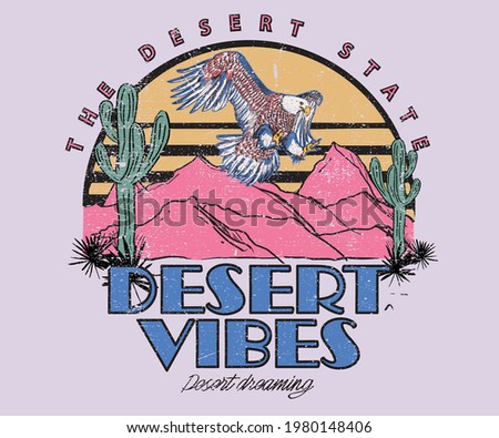 Desert vibes with eagle t-shirt design. Eagle flaying over desert graphic design. Stockfoto ©