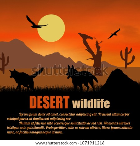 desert wildlife poster wolves