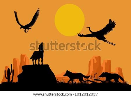 desert wildlife silhouettes