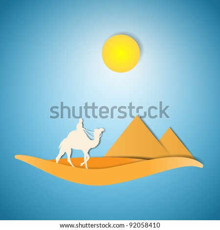 desert with camel paper cut