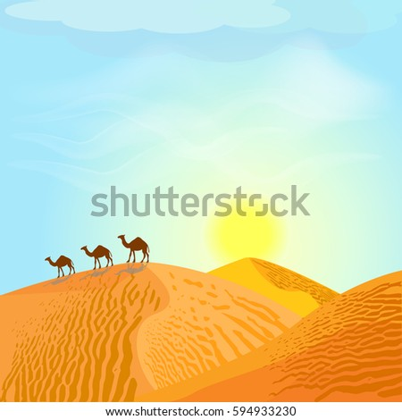 desert with dunes and camels