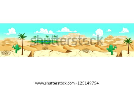 Desert with oasis. Vector illustration with measures: 6144x1536 pixels, adaptable to tablet screen. The sides repeat seamlessly for a possible, continuous animation. - stock vector