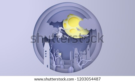 Deserted city on Halloween. Witch flying on the sky in deserted city. paper cut and craft design. vector, illustration.