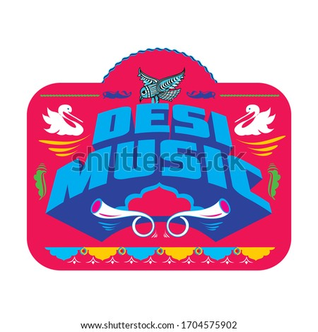 Desi means pure in english. Desi Music decorative typography. Photo stock ©