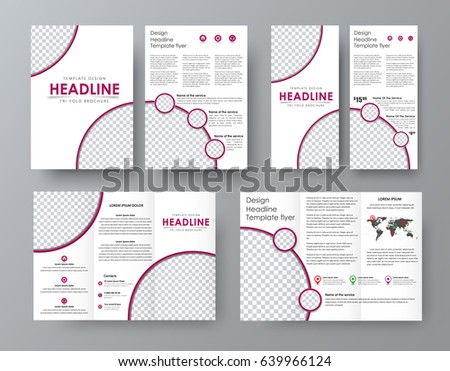 Design a folding brochure, front and back of the flyer with a place for photos. A pattern with burgundy lines. corporate style. Vector illustration #639966124