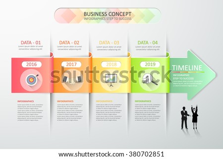 Design abstract 3d arrow infographic template 4 steps for business concept