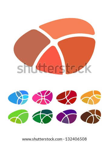 Design abstract round logo element. Crushing round pattern. Colorful icons set.