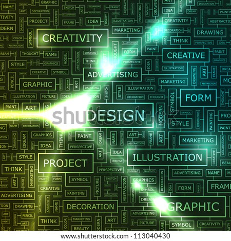 DESIGN. Abstract vector background. Word cloud association concept for business.