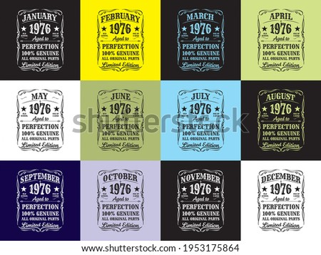 design 1976 aged to perfection 100% genuine all original parts t-shirt Stock photo ©