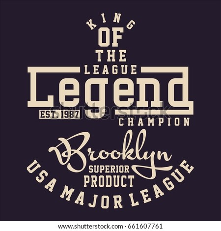 Design alphabet and numbers LEAGUE LEGEND CHAMPION for t-shirts