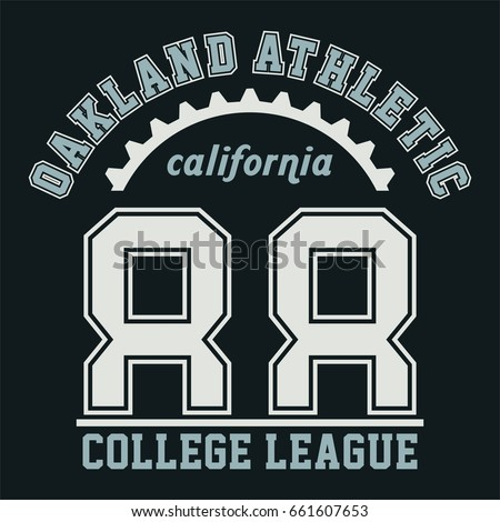 Design alphabet and numbers OAKLAND ATHLETIC CALIFORNIA for t-shirts