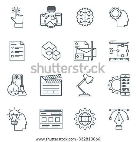 Design and  development icon set suitable for info graphics, websites and print media. Black and white flat line icons.