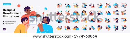 Design and Development illustrations. Mega set. Collection of scenes with men and women involved in software or web development. Trendy vector style
