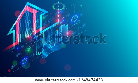 Design and development smart home system. Engineering of automation of residential intelligence house. Isometric concept internet of things structure on architecture plan of building.
