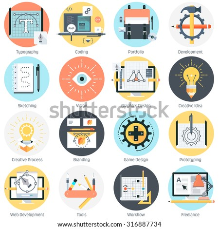 Design and development theme, flat style, colorful, vector icon set for info graphics, websites, mobile and print media.