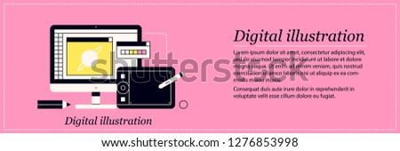 Design and digital illustration. Elegant flat style on pink background. Drawing software, graphic tab, concept art.