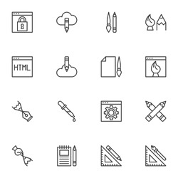 Design and drawing line icons set, outline vector symbol collection, linear style pictogram pack. Signs, logo illustration. Set includes icons - website development, seo, digital art, project briefing