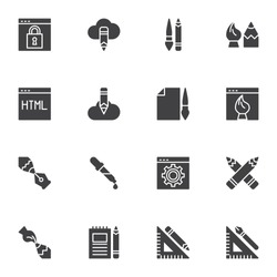 Design and drawing vector icons set, modern solid symbol collection, filled style pictogram pack. Signs, logo illustration. Set includes icons - website development, seo, digital art, project briefing