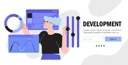 Design and programming banner, web landing page, advertisement. Designer working on ui ux design or mobile application. Studio or agency prototyping or coding web page or mobile app. Cms development.