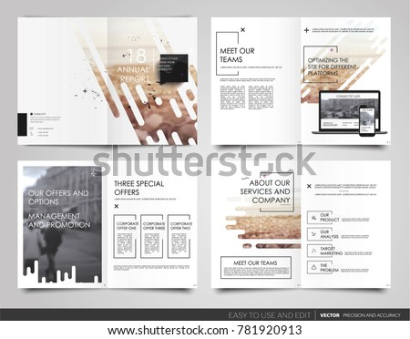 Design annual report Cover book Vector template brochures Layout Flyers, Presentations Leaflet  Magazine . Minimalistic abstract templates - stock vector