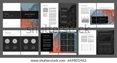 Design annual report, cover, vector template brochures, flyers, presentations, leaflet, magazine a4 size. Dark minimalistic abstract templates - stock vector