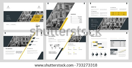 Design annual report, cover, vector template brochures, flyers, presentations, leaflet, magazine a4 size. Grey and Yellow Minimalistic abstract templates - stock vector