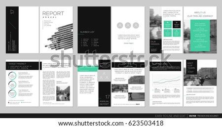 Design annual report,vector template brochures, flyers, presentations, leaflet, magazine a4 size. Black and green geometric elements on a white background. Stock vector