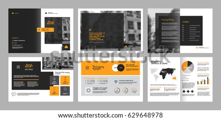 Design annual report,vector template brochures, flyers, presentations, leaflet, magazine a4 size. Grey and yellow geometric elements on a white background. - stock vector #629648978