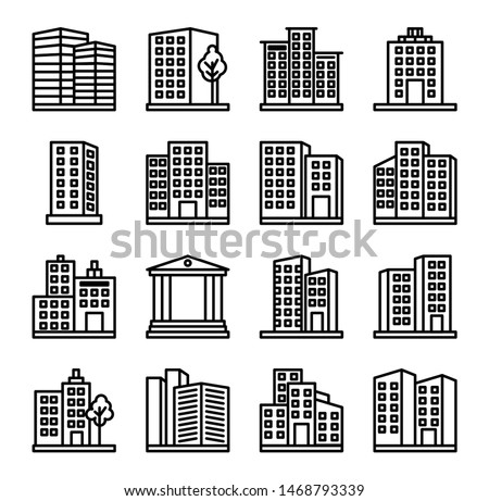 Design architecture buildings line icons