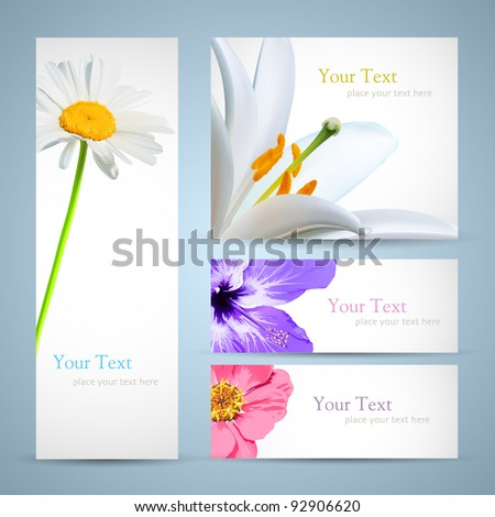 Design background of spring flowers brochure. Easter, birthday or invitation card vector template.