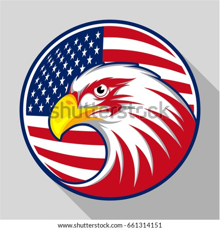 Design badge circle with eagle and the American flag, visualized in flat design style