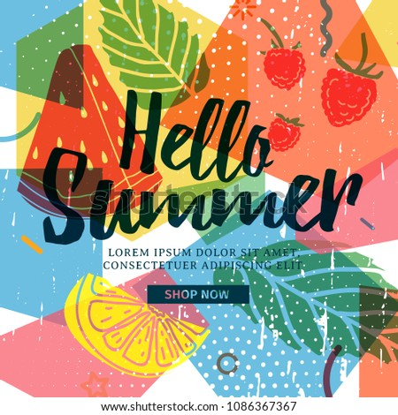 Design banner for summer season. Abstract geometric background with silhouettes fruit, lemon, strawberry and mint. Text hello summer on grunge modern texture backdrop. Vector.
