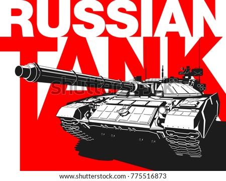 Design banner Illustration with Russian main battle tank Isolated on red background. black and white drawing Russian tank MBT T90. Creative Illustration card.