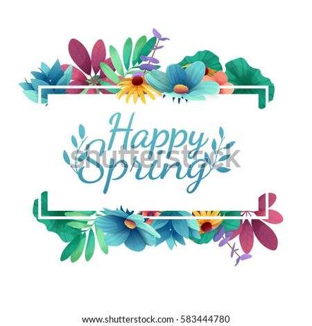Design banner with  Happy spring logo. Card for spring season with white frame and herb. Promotion offer with spring plants, leaves and flowers decoration.  Vector #583444780