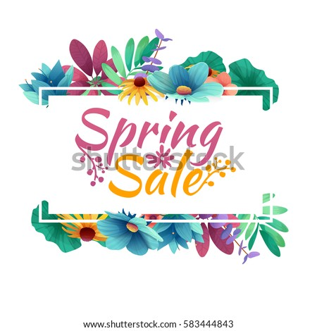 Design banner with  spring sale logo. Discount card for spring season with white frame and herb. Promotion offer with spring plants, leaves and flowers decoration.  Vector #583444843